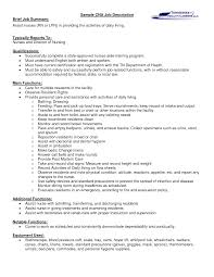 Nurse Aide Job Description For Resume