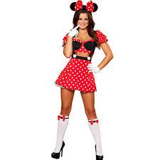 Captivating Adorable Mousey Mistress Costume Classic Polka Dot Print Crop Top High  Waist Skirt Halloween Cartoon Character Costume L15225