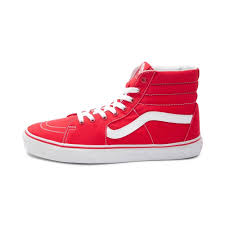 vans red and white. alternate view: vans sk8 hi skate shoe - red/white alt1 red and white journeys.com
