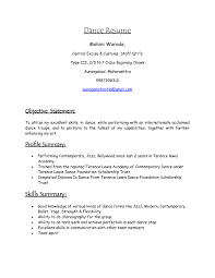 Dance Resume For College Free Resume Example And Writing Download