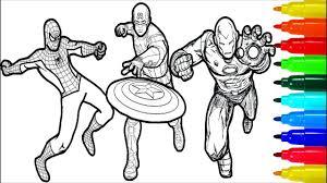Will iron man or captain america reign supreme in a showdown of superhero costume color palettes? Spiderman Iron Man Captain America Wolverine Thor Hulk Coloring Pages Superheros Coloring Pages Youtube