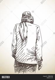 1125x1620 sketch man back scarf around his vector photo bigstock