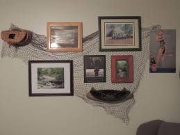 fly fishing theme wall decor using fishing net from joe s