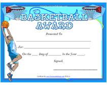 Printable Basketball Award Certificates Templates