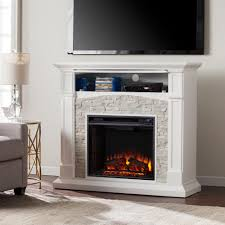 southern enterprises conway 45 75 in electric fireplace tv stand in white with white faux stone