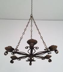 five candle holder wrought iron chandelier 1920s 2