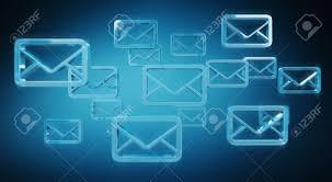 Digital Blue Floating Emails On Blue Background 3d Rendering