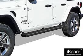 aps iboard running boards 5 matte black custom fit 2018 jeep wrangler jl sport utility 4 door nerf bars side steps side bars