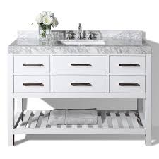 white bathroom vanities with marble tops. Ancerre Designs Elizabeth White Undermount Single Sink Bathroom Vanity With Natural Marble Top (Common: Vanities Tops