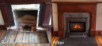 before and after zeller customers had an old coal burning fireplace