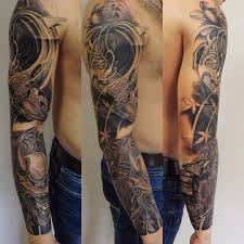татуировка рукав у парня карп и дьявол фото рисунки эскизы
