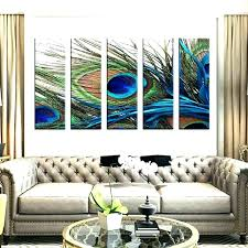 peacock feather wall art modern decor ideas for living room 5 set diy peacock feather wall art