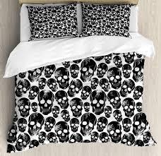 gothic duvet cover set grunge black human skulls on white backdrop evil men fear horror skeleton decor bedding set fine bedding grey and white