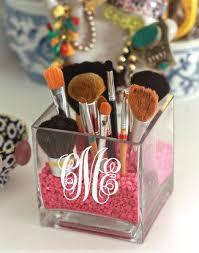 monogrammed makeup brush holder square gl vase monogrammed jewelry holder bedside holder nightstand jewelry holder candle