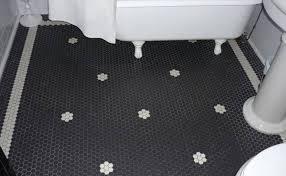 black and white hexagon bathroom tile