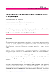 pdf ytic solution for two dimensional heat equation for an ellipse region