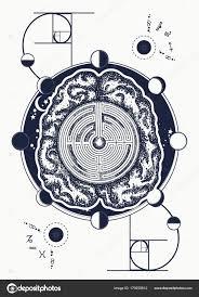 мозг лабиринт золотое сечение тату искусства символ психологии