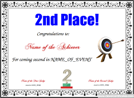 parenting certificate templates 2nd place free certificate templates for kids sport and community
