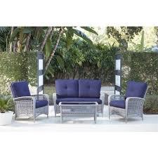 fashionable blue patio conversation sets in cosco lakewood ranch 4 piece gray resin wicker patio conversation