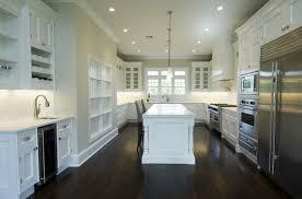 White Kitchen Cabinets with Dark Wood Floors Transitional