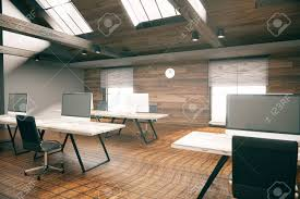 image country office. Coworking Office Room With Blank Computer Display, Wooden Floor, Walls And Ceiling. Country Image