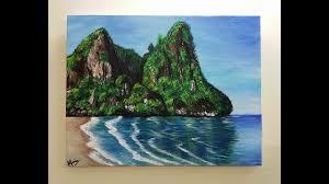 rock island beach acrylic painting nishat munia