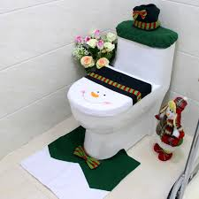 snowman party green bow decorated toilet tank lid cover mats decorative towel sets