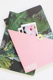 diy personalized composition notebook pink gold palms3