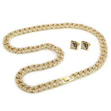 mens gold tone cuban cz hip hop full stone iced out 30 15mm miami necklace chain amazon