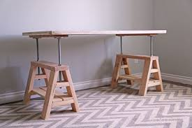 ana white modern indsutrial adjule sawhorse desk to coffee table diy projects