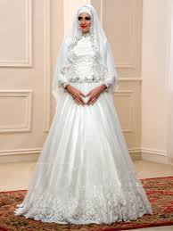 arabic sequins beaded lace high neck muslim wedding dress with