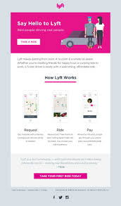 welcome email template the lyft welcome email is clean minimal and fun with a nice three