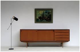 Installation in retro style  furniture and the colors of the 60s