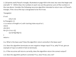 Solved: Pascal's Triangle, Illustrated On Page 419 In The ...