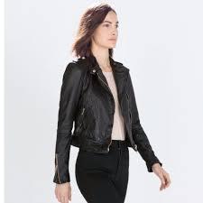 zara soft real leather biker jacket medium size women s fashion clothes outerwear on carou