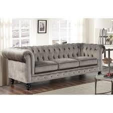 Abbyson Grand Chesterfield Grey Velvet Sofa