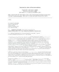 Scholarship Letter Of Recommendation Template Caseyroberts Co