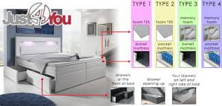 Led Bedroom Furniture Divan Bed Mediolan 2 Led With Bedding Container Free Delivery