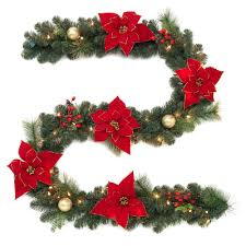 pre lit artificial garland with poinsettias