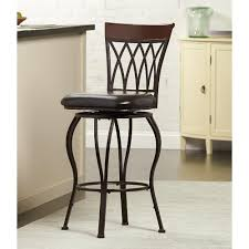metal swivel bar stools with back. HDC Classic Metal Swivel Bar Stool With Square Cushion - Brown Stools Back E