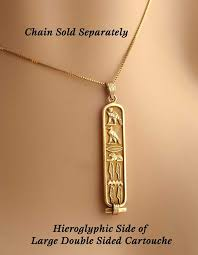 com double sided personalized 18k gold cartouche made in and