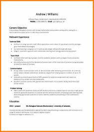 Cv Examples Students A Curriculum Vitae For Students 14 Example Of