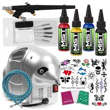 Pointzero Complete Temporary Tattoo Airbrush Set 4 Color 20 Stencil Kit