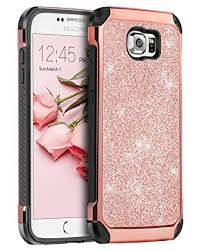 Amazon.com: Galaxy S6 Case, Samsung BENTOBEN 2 in 1 Luxury Glitter Bling Hybrid Slim Hard PC Cover with Sparkly Shiny Faux Leather Chrome