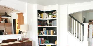 Home Organization:L Shaped Wood Corner Bookshelves With Metal Case Cool L  Shaped White Polished