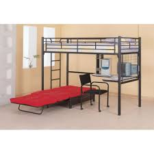 ... Combo And Size Modern Blackshed Iron Teenage Bunk With Folding Red  Extra And L Shaped Desk On Broken White Striking Loft ...
