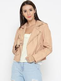 forever 21 women peach coloured solid faux leather biker jacket