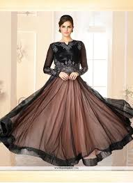 Designer Gown In Black Colour Brown And Black Net Designer Gown Frock Design Net Gowns