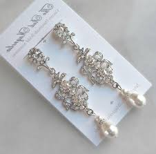 long beautiful rhinestone chandelier earrings swarovski pearl crystal earrings chandelier earrings white ivory cream champagne