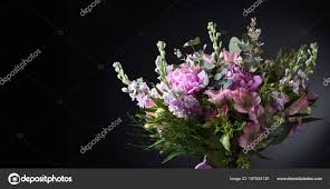 close colorful bouquet pink peonies beautiful flowers black background free stock photo
